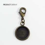 Antique Bronze Cabochon Round Smooth Setting Base with Lobster Clasp 12mm for DIY Jewellery Making Findings 50piece/BP37