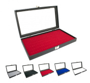 Novel Box¢ç Glass Top Black Jewellery Display Case + Red 72 Slot Ring Display Insert + Custom NB Pouch