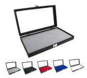 Novel Box¢ç Glass Top Black Jewellery Display Case + Grey 72 Slot Ring Display Insert + Custom NB Pouch