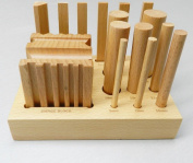 WOODEN SWAGE BLOCK SET WOOD FORMING DESIGN CUBE & PUNCHES FORM & SHAPE 15PC SET (LZ 1.9 FRE) NOVELTOOLS