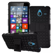For Microsoft Lumia 640XL, Hybrid Heavy Duty Dual Layer Shock Proof Rugged Shell Grenade Grip Tyre Textured Kickstand Case Cover