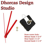 Dhorcas (#05) 1.9cm Threaded Motor and Red 13cm Hands and Hanger, Quartz Clock Movement Kit for Replacement
