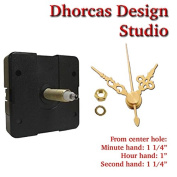 Dhorcas (#17) 1.9cm Threaded Motor and Gold 2.7cm Hands, Quartz Clock Movement Kit for Replacement