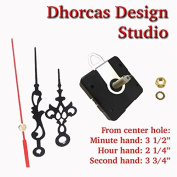 Dhorcas (#16) 1.9cm Threaded Motor and Black 8.9cm Hands and Hanger, Quartz Clock Movement Kit for Replacement