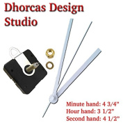 Dhorcas (#04) 1.9cm Threaded Motor and White 13cm Hands and Hanger, Quartz Clock Movement Kit for Replacement
