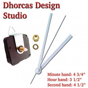 Dhorcas (#04) 1.3cm Threaded Motor and White 13cm Hands and Hanger, Quartz Clock Movement Kit for Replacement