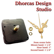 Dhorcas (#17) 1.3cm Threaded Motor and Gold 2.7cm Hands, Quartz Clock Movement Kit for Replacement
