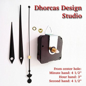 Dhorcas (#06) 1.3cm Threaded Motor and Black 11cm Hands and Hanger, Quartz Clock Movement Kit for Replacement