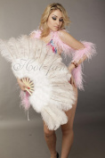 Hot-fans Marabou and Ostrich Feather Fan 50cm x 100cm , White