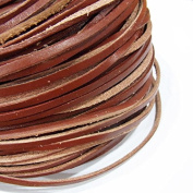 2x3mm Genuine Leather Cord Brown 20m String 3571 - Knotting Stringing