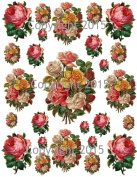 Victorian Yellow and Pink Roses Collage Sheet Printed Collage Sheet, Weddings, Decoupage, Scrapbook, Altered Art, Victorian Scrap
