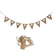 Rustic Wedding Garland Natural Hessian Burlap Love Heart Bunting Party Banner