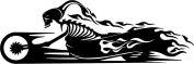 Death monster on motorcycle flames for biker and racer car wall skull Vinyl Sticker Decal (14cm inches