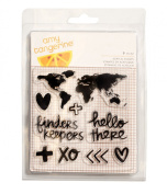 American Crafts 9 Piece Amy Tan Finders Keepers Acrylic Stamps Map