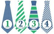 Monthly Baby Stickers, Tie Baby Sticker, Striped Baby Tie