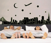 City scenery Buildings Stars Moon Aeroplane Night Lighting Wall Decal Home Sticker House Decoration WallPaper Removable Living Dinning Room Bedroom Kitchen Art Picture Murals DIY Stick Girls Boys kids Nursery Baby Playroom Decoration PP-ABQ9601