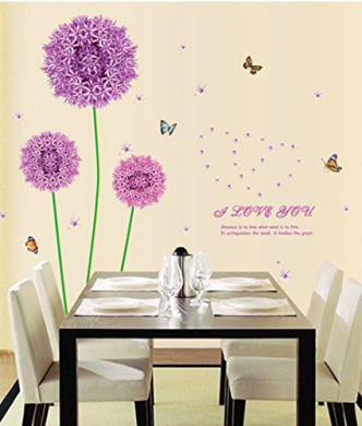 Purple Dandelion Colourful Butterflies Wall Decal Home Sticker House Decoration WallPaper Removable Living Dinning Room Bedroom Kitchen Art Picture Murals DIY Stick Girls Boys kids Nursery Baby Playroom Decoration PP-AY9127