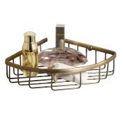 Marmolux Brass Wall Mount Corner Holder Bathroom Shower Storage Caddy Shelf-Antique Brass Finish