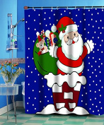 GoodGram Up On The Roof Christmas Fabric Shower Curtain