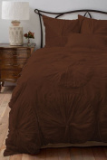 Flower Ruffle Duvet Cover 1 Piece 300 TC Egyptian Cotton King/Cal King Chocolate