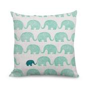 wendan Cute Multi Elephant Pattern Faux Linen Accent Pillows Decorative Pillowcase Cushion Covers 18 X 18