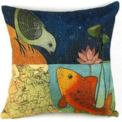 Leaveland Bird & Fish in the Two World Forever Throw Pillow Case Sham Decor Cushion Covers Square 18*46cm Beige Cotton Blend Linen