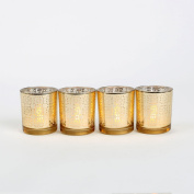 7.6cm Gold Glass Flameless Votives with LED Wax Tea Lights Inside, Set of 4, Warm White Glow, Batteries Included