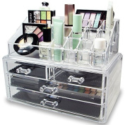 4 X NILECORP Acrylic Jewellery & Cosmetic Storage Display Boxes Two Pieces Set.