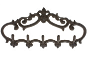 Cast Iron Wall Hanger - Vintage Design with 5 Hooks - Keys, Towels, Clothes, Anprons - Wall Mounted, Metal, Heavy Duty, Rustic, Vintage, Recycled, Decorative Gift Idea - 33cm x 15cm - With Screws And Anchors By Comfify - CA-1504-25-BR