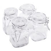8.3cm Square Glass 90ml Jar with Hinge Glass Lid for Home Kitchen, Arts & Crafts Projects, Decoration, Snack Foods and Sauces (4 Pack) by Super Z Outlet®