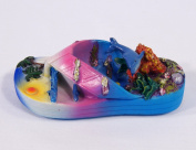 Hand Painted Large 3d Refrigerator Magnet (Slipper Sandal Design) Blue Dolphin