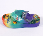 Hand Painted Large 3d Refrigerator Magnet (Slipper Sandal Design) Dolphin