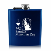 180ml Stainless Steel Flask -I love my Bernese Mountain Dog-Blue