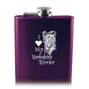 180ml Stainless Steel Flask -I love my Yorkshire Terrier-Purple