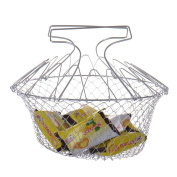 Kitchen Chef Cooking Tool Foldable Steam Rinse Strain Fry Basket Strainer Net