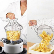 P Foldable Steam Rinse Strain Fry Chef Basket Strainer Net Kitchen Cooking Tool