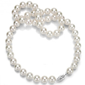 14k White Gold 7.5-8mm White Japanese Saltwater Akoya Cultured AAA High Lustre Pearl Necklace, 14""
