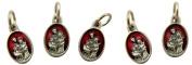 Red Enamel Holy Family Pray for Us Medal Charm Pendant, Set of 5, 1.6cm