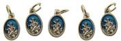 Blue Enamel Saint Christopher Pray for Us Medal Charm Pendant, Set of 5, 1.6cm