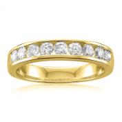 14k Yellow Gold 9-Stone Round Diamond Bridal Wedding Band Ring