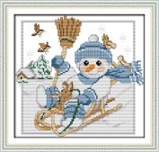 Benway Stamped Cross Stitch Christmas Snowman (Pre-printed Canvas) 11 Count 34x32CM