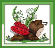 Happy Forever Cross Stitch Animal, a baby ladybug