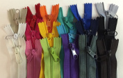 "LOT of 18 Long Pull Handbag Zippers 14"" Bright Assorted Colours #4 (5.1mm) Nylon Closed End"