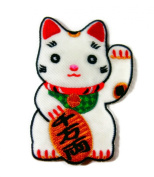 Maneki-neko Japanese Lucky Cat Cap Polo Backpack Clothing Jacket Shirt Pants DIY Embroidered Iron On / Sew On Patch Applique Cute Kids Baby Girls #FREE GIFT