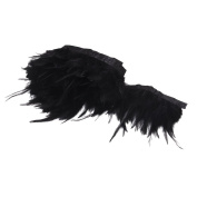 Click Down Handmade Rooster Feather Fringe Trim for Sewing Crafts Decoration Black