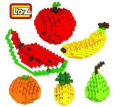 Loz Mini-Blocks 3D Fruit 6-In-1 Mini-Figure A Pineapple, Orange, Apple, Pear, Banana And Watermelon Nano-Blocks Toys Collect, Build And Display Your Works Of Art.