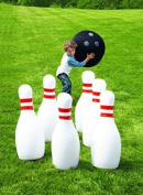 HearthSong Giant Bowling Game, Inflatable - Classic Red, White, and Black - 70cm H