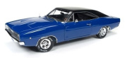 """1968 Dodge Charger Hardtop Blue """"Christine"""" Movie 1/18 by Autoworld AWSS111"""
