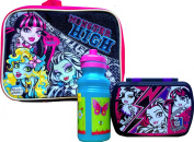 Monster High Children's Lunch Box with Monster High Sandwich Container and Reusable Pull-top Water Bottle Back to School Lunch Gift Set