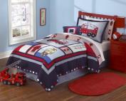 Maketop Fireman Firetruck Kids Boys Quilt Bedding Set, Twin/ Full